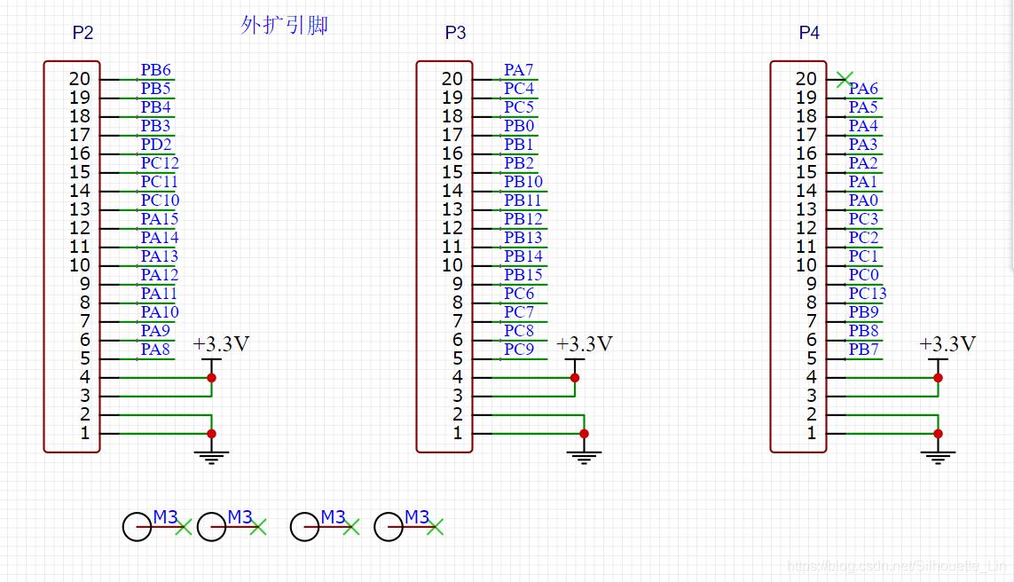 其外拓引脚电路除去(PC14,PC15,PD0,PD1用作外部晶振电路)