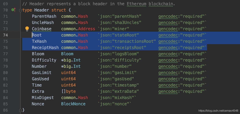 block的header数据结构
