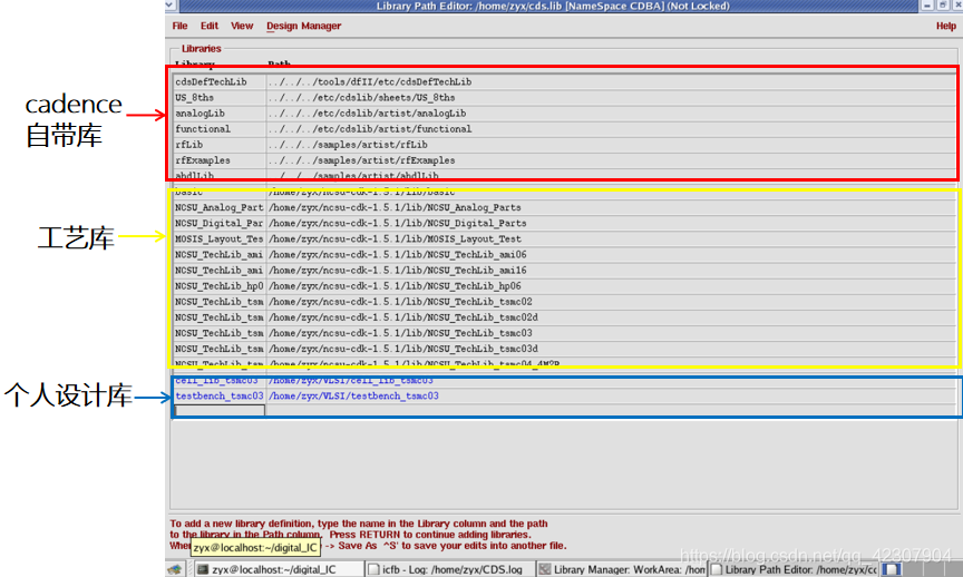 图8 cadence软件中的编辑库文件