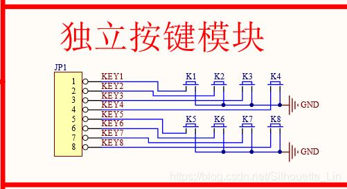 51单片机的独立按键电路在这里插入图片描述