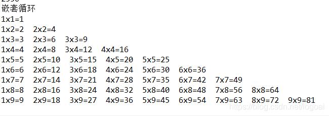 用java编写九九乘法表