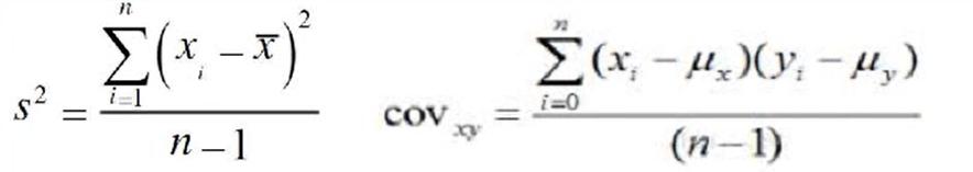 左边公式为方差公式,右边为协方差