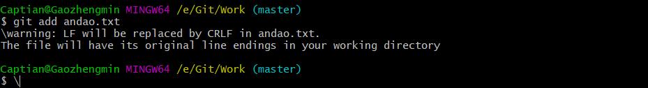 \warning: LF will be replaced by CRLF in andao.txt.这个文件中LF将被替换为CRLF