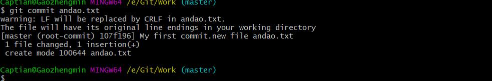 1 file changed一个文件被修改, 1 insertion(+)修改一行
