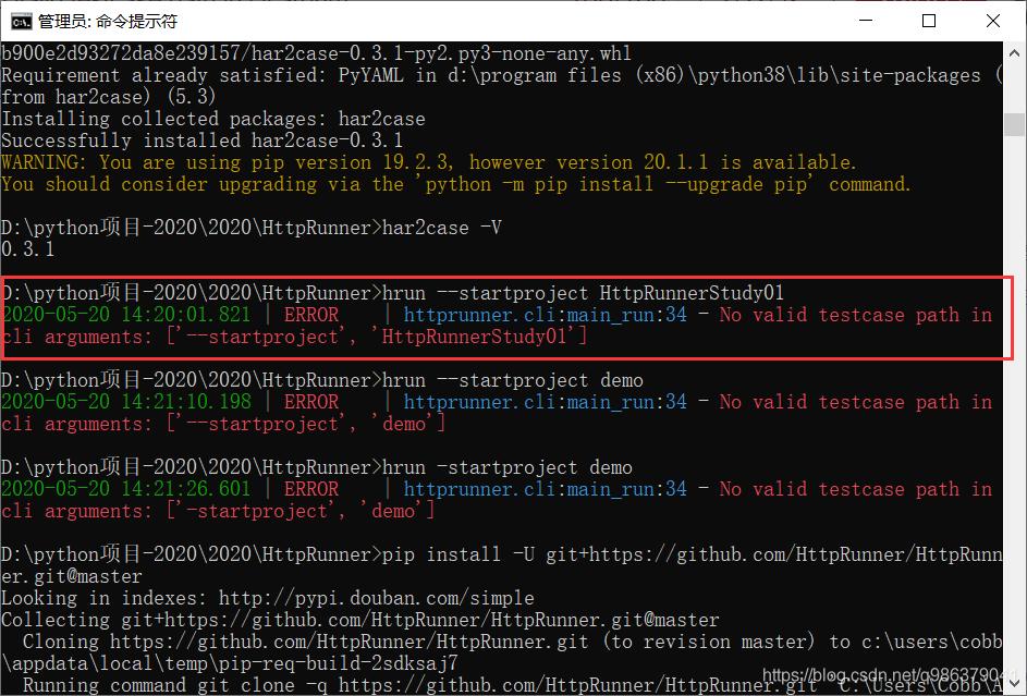 2020-05-20 14:20:01.821   ERROR      httprunner.cli:main_run:34 - No valid testcase path in cli arguments: ['--startproject', 'HttpRunnerStudy01']