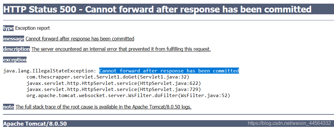 java.lang.IllegalStateException: Cannot forward after response has been committed