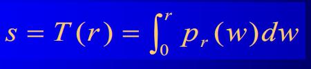将输入图像中灰度级为r的像素映射到输出图像中灰度级为s的对应像素得到