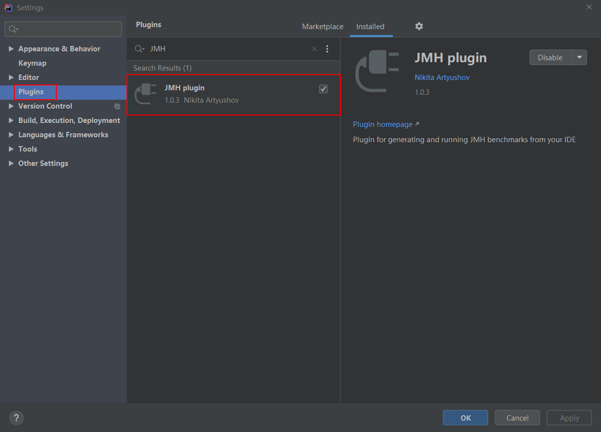 JMH plugin