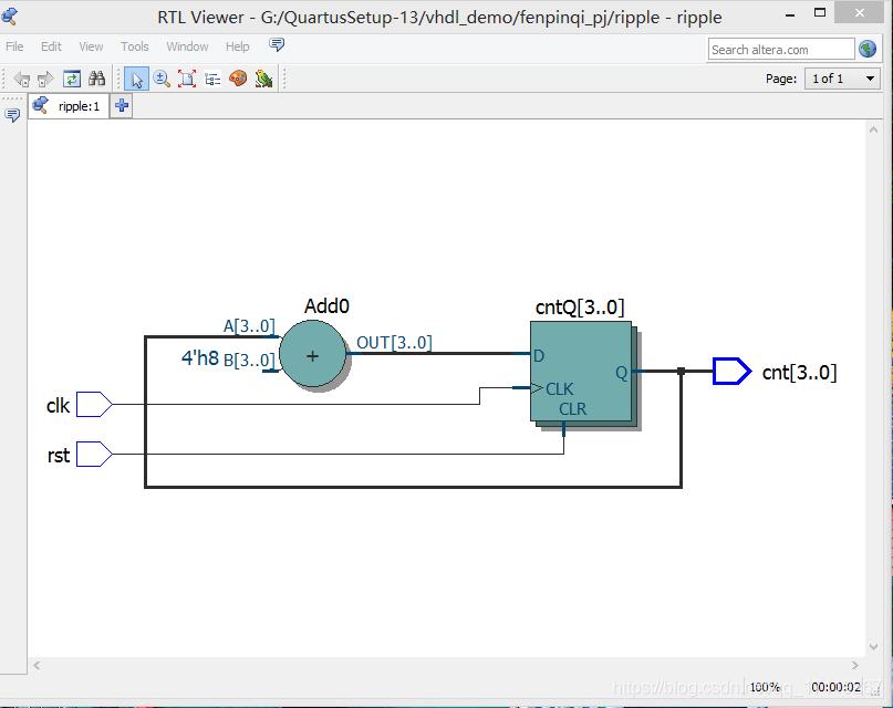 显示编译成功后,选择菜单栏 Tools –>Netlist Viewers  –>RTL Viewer 显示逻辑电路图[外链图片转存失败,源站可能有防盗链机制,建议将图片保存下来直接上传(img-9wdym7zZ-1592033868980)(G:\研究生\FPGA课程\笔记文档\rec\截图20200612181245.png)]