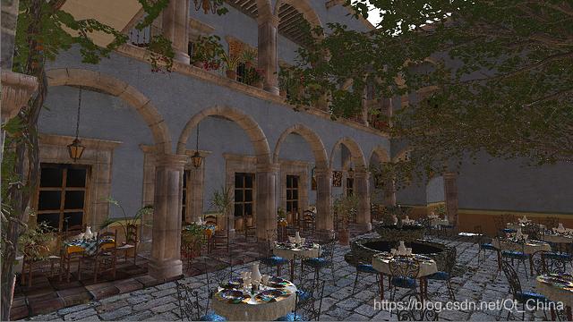 """在Qt Quick 3D中运行的""""San Miguel""""测试场景"""