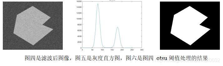 图四是滤波后图像,图五是灰度直方图,图六是图四 otsu 阈值处理的结果