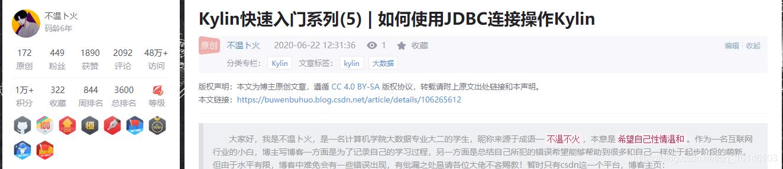 Kylin快速入门系列(5) | 如何使用JDBC连接操作Kylin不温卜火-