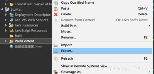 从webconten右键,export为war包