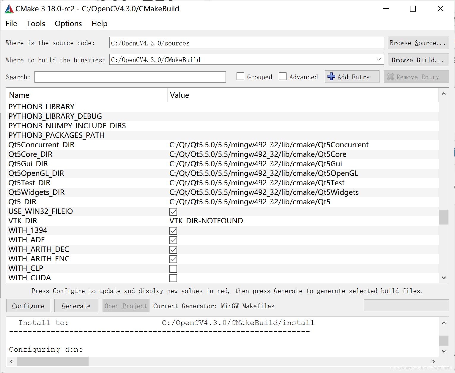 Window10  OpenCV3.4.7  CMake3.18.0  QT5.5.0 编译配置及调用cnicfhnui的博客-