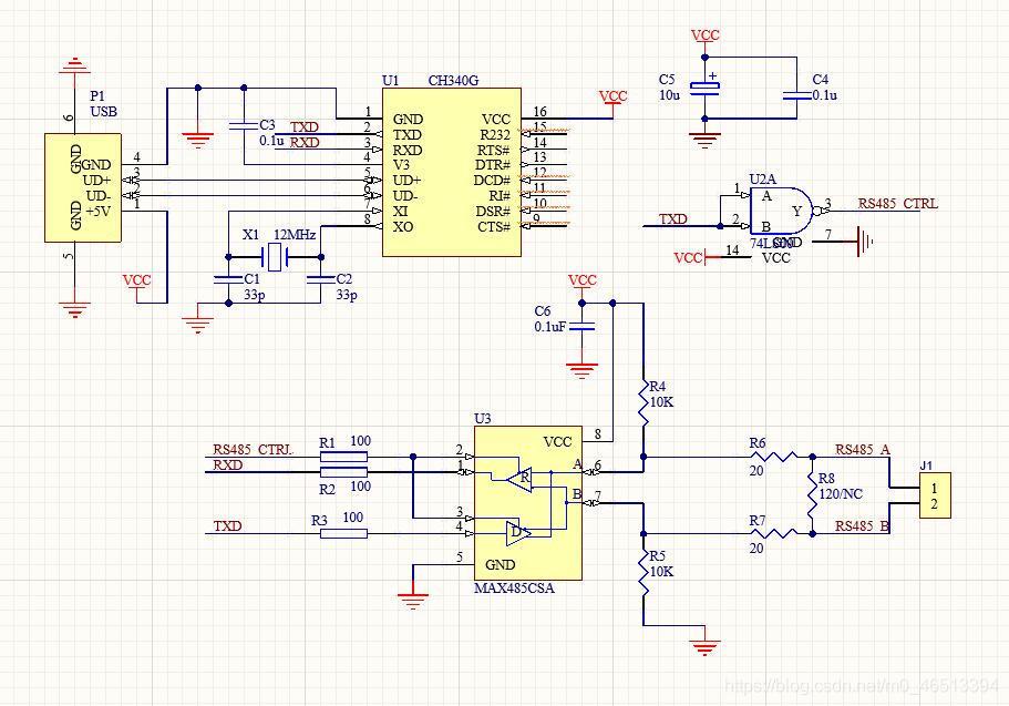 CH340G的RS485电路