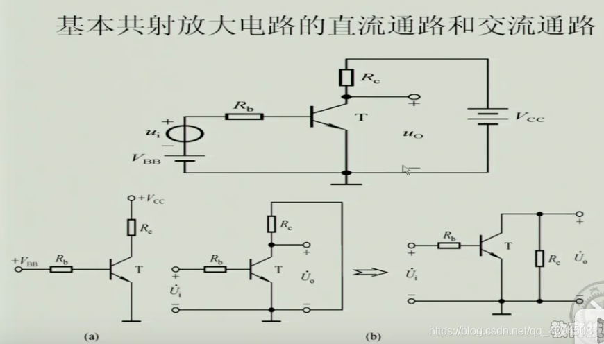 基本共射放大电路的直流通路和交流通路