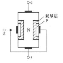 N沟道结型场效应管的结构示意图