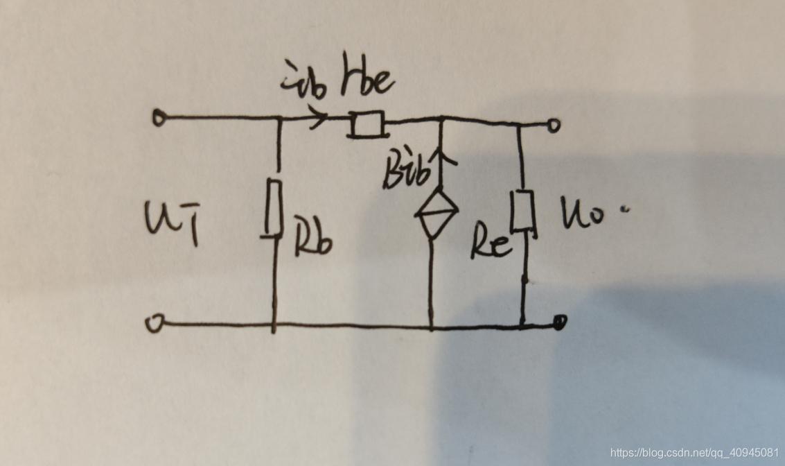 基本共集放大电路的简化H参数等效模型