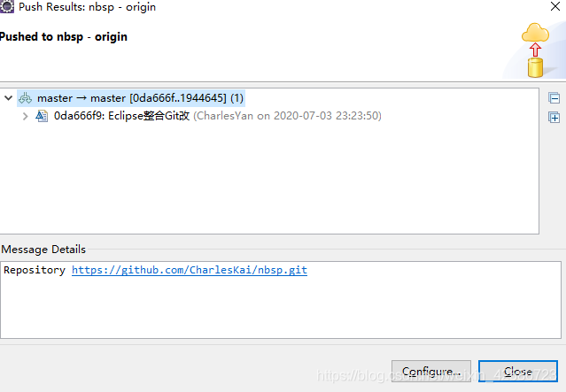 Eclipse推送本地工程到远程仓库_5