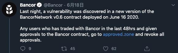 Bancor团队发现漏洞
