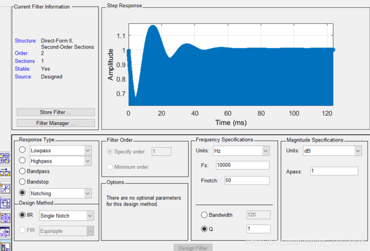 matlab自带滤波器设计工具参数