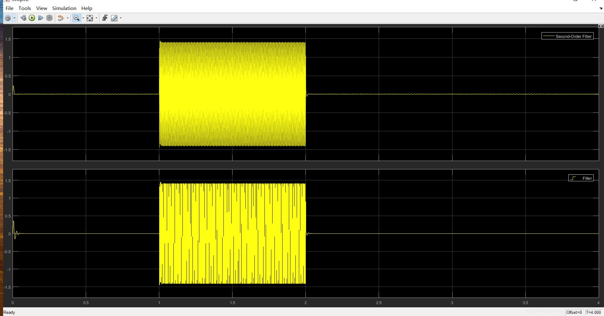 两个滤波器滤波后波形