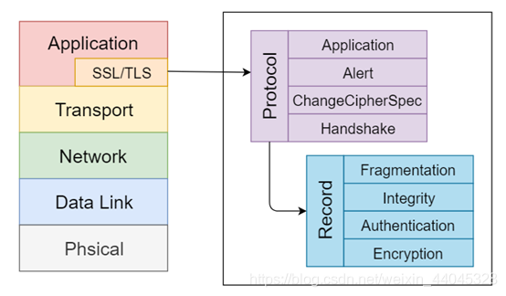 图1 SSL/TLS协议在OSI五层模型中的位置