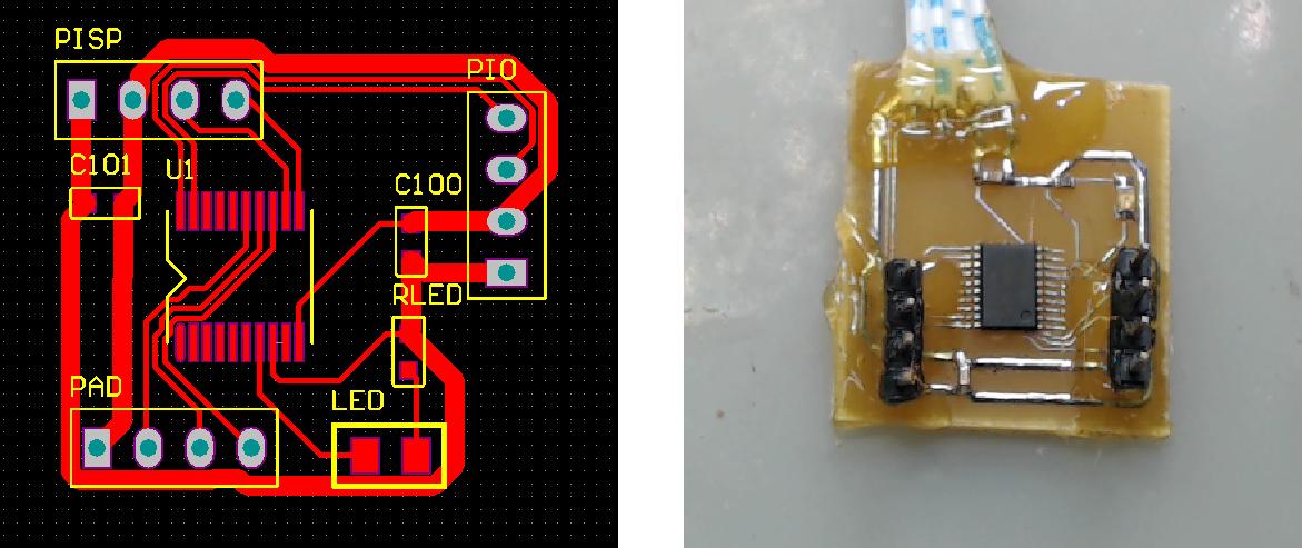 ▲ 核心板的PCB设计和焊接后的实验板