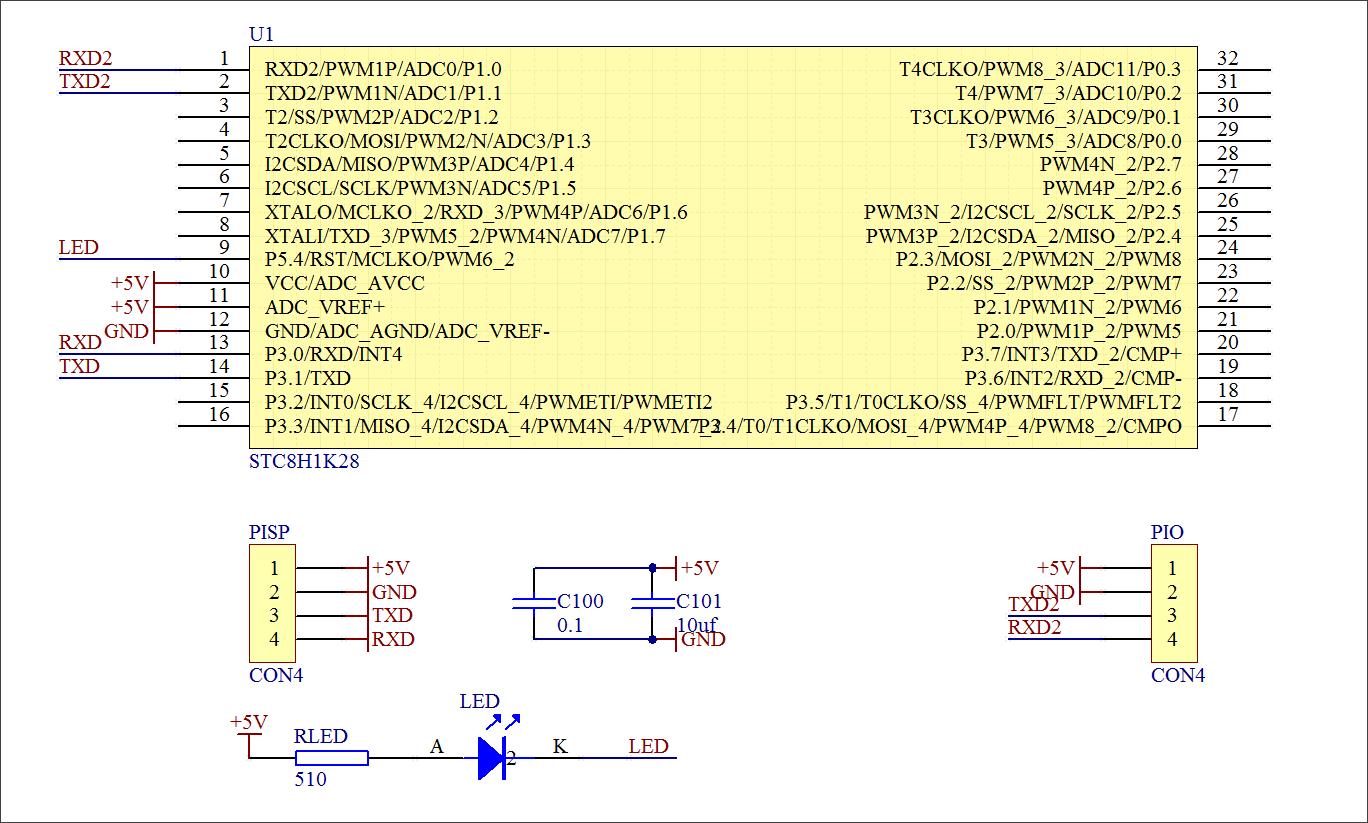 ▲ 基于STC8H1K28的HUB控制器原理图