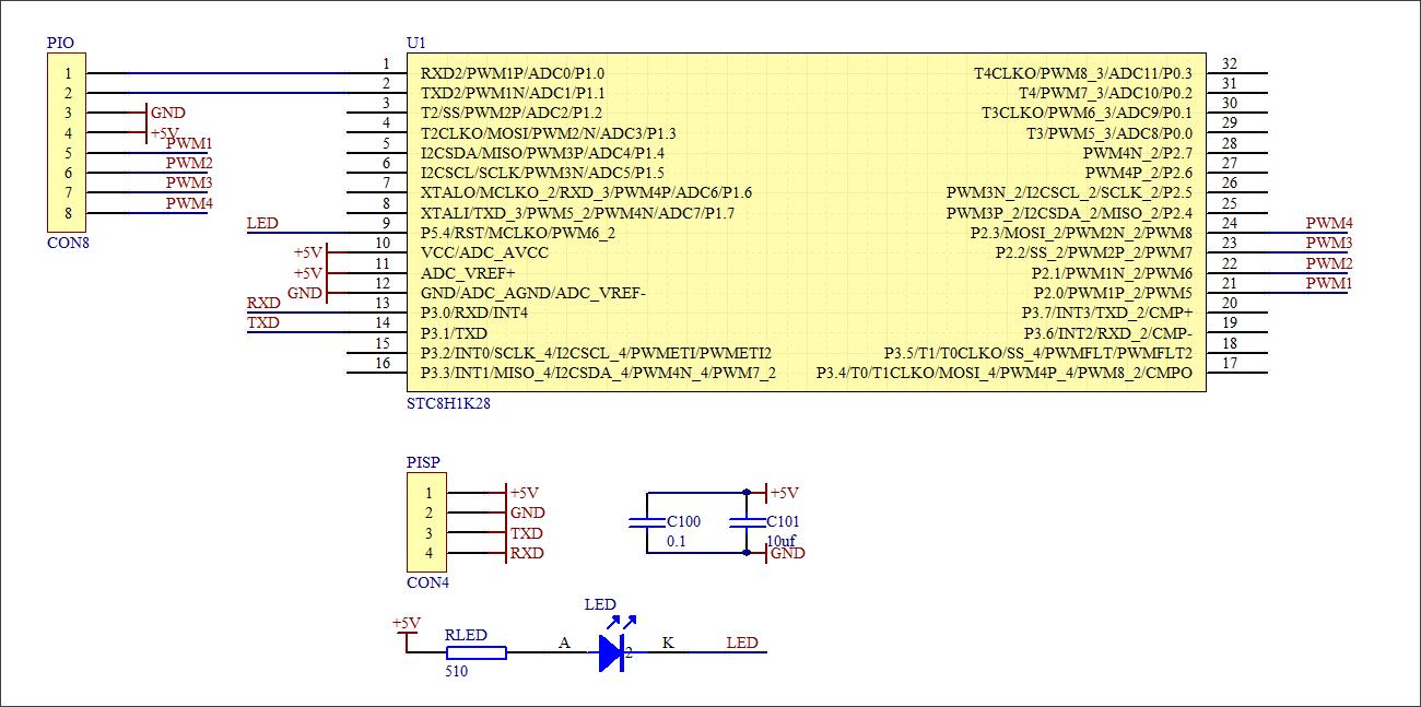 ▲ STC8H1K28原理图