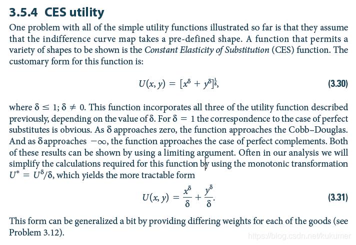 CES效用函数表达形式
