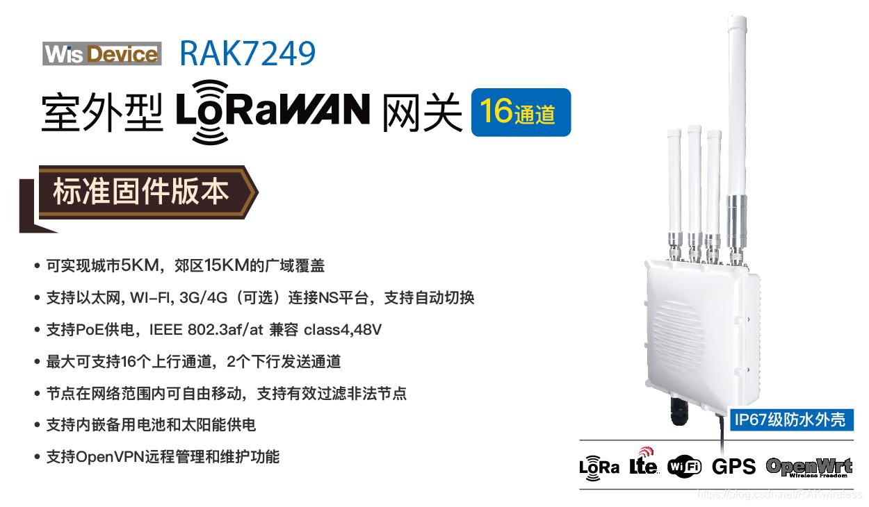 RAK瑞科慧联的室外型LoRaWAN网关RAK7249支持OpenVPN