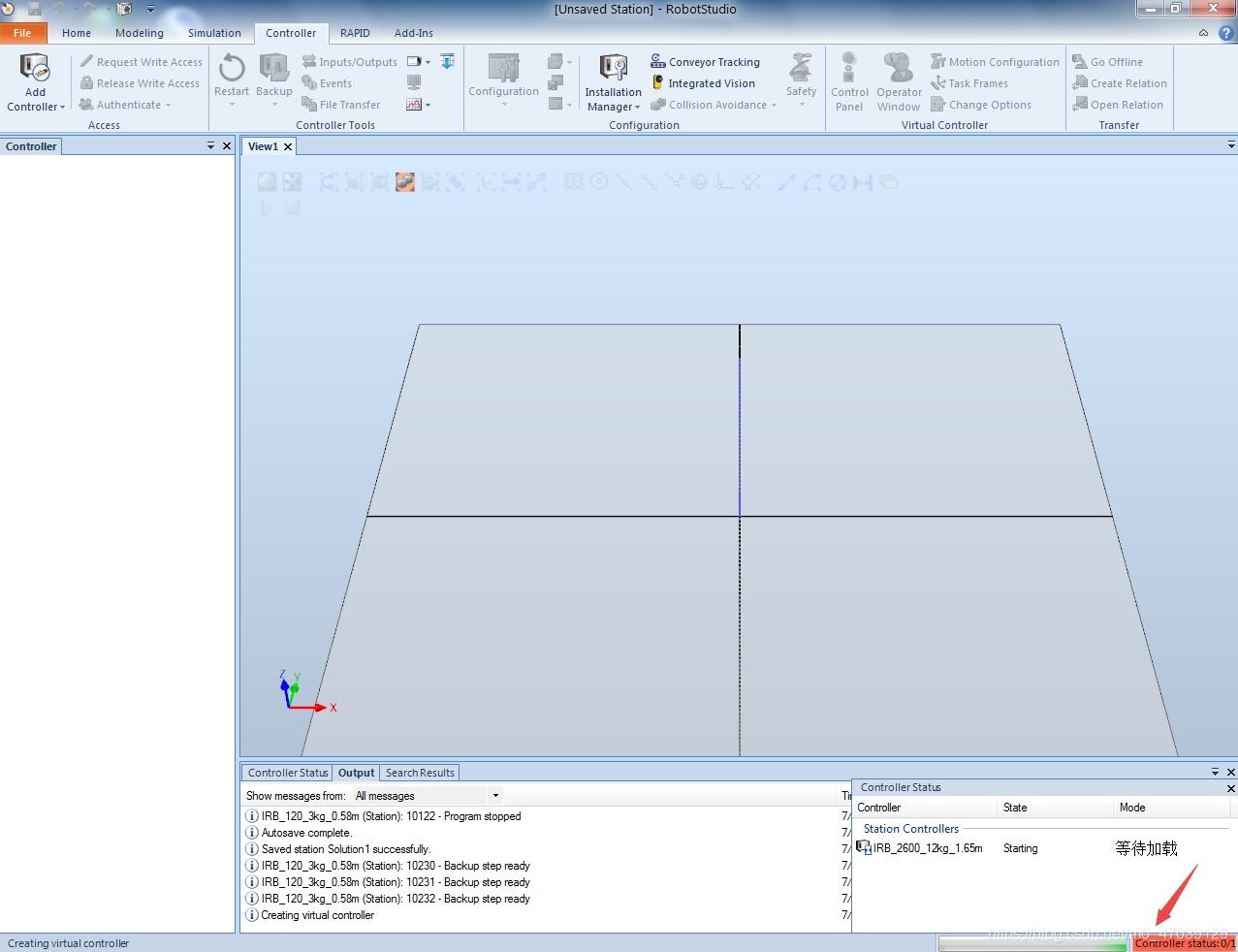 图3 加载过程中工作站内不显示任何内容