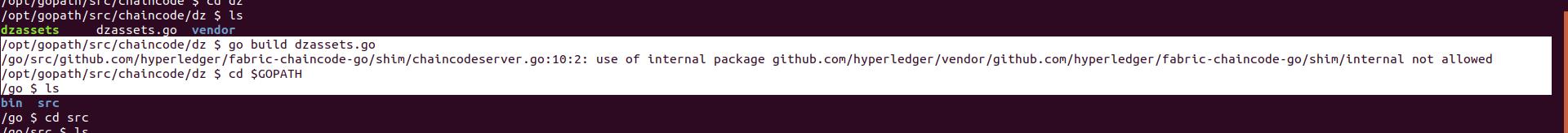 此处编译dz.go出现了这个问题,可以看到gopath是在/go/下
