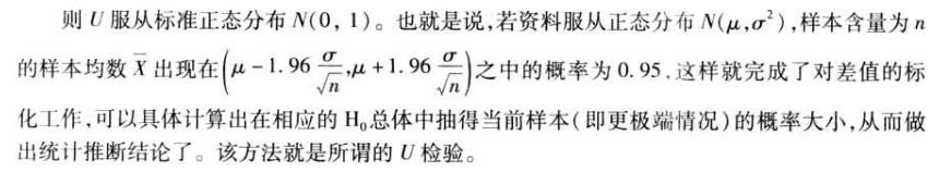 则U服从标准正态分布N(0,1)。