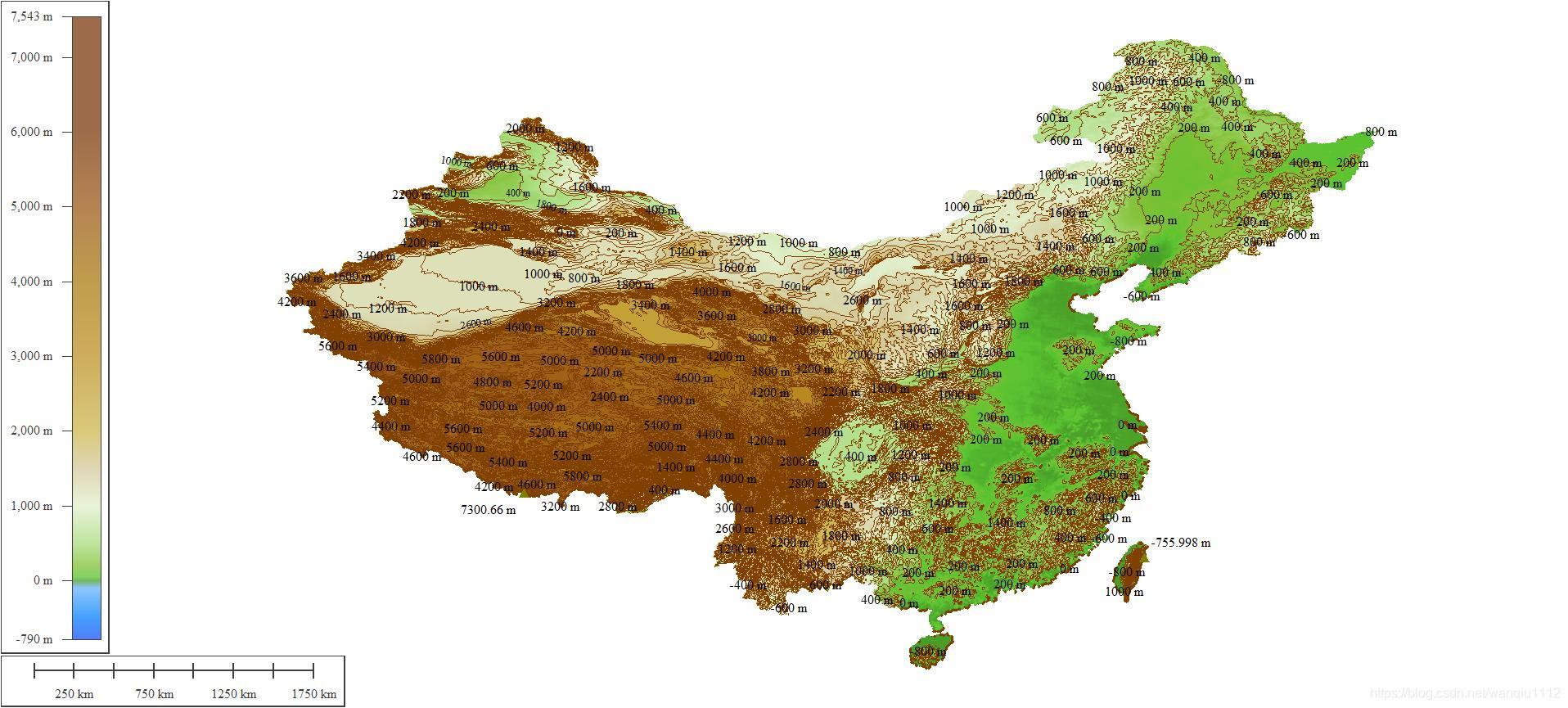 中国等高线地形图