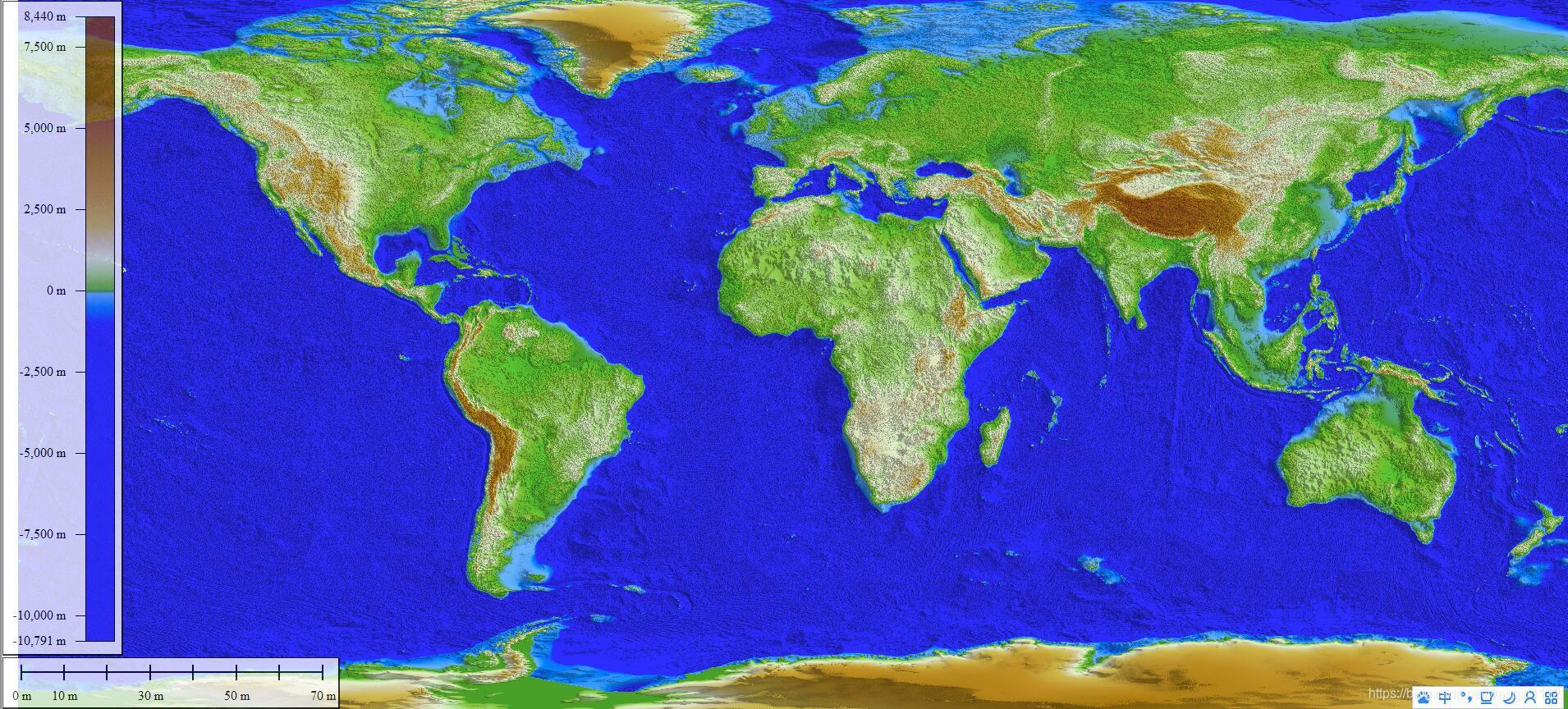 DEM高程数据生成的全球地形图