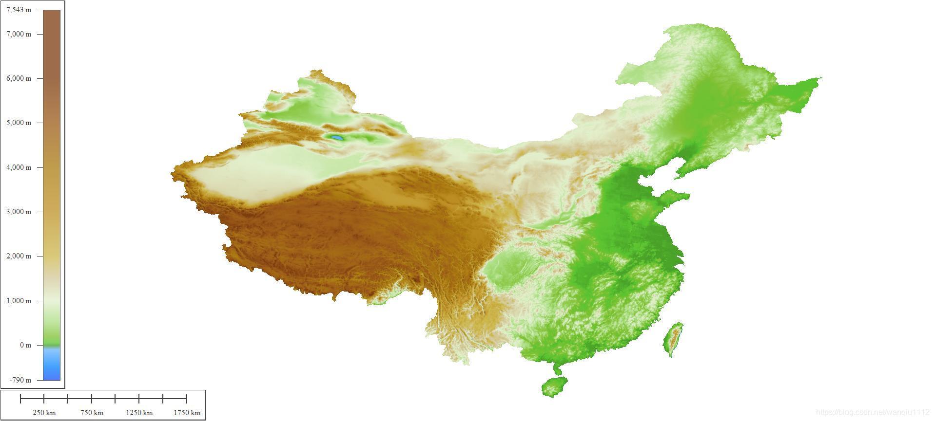 经过裁剪后的中国地形图