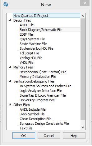 file-new选择Block Diagram创建.bdf文件
