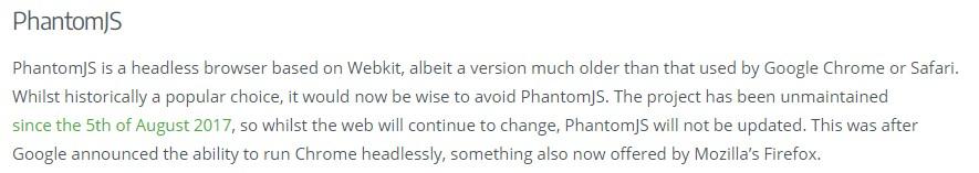 PhantomJS项目停止维护