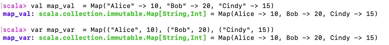 "val scores  = Map(""Alice"" -> 10, ""Bob"" -> 20, ""Cindy"" -> 15)"