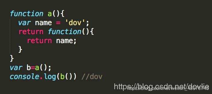 a()中的返回值是一个匿名函数,这个函数在a()作用域内部,所以它可以获取a()作用域下变量name的值,将这个值作为返回值赋给全局作用域下的变量b,实现了在全局变量下获取到局部变量中的变量的值