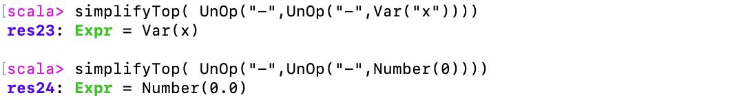 """simplifyTop(UnOp (""""-"""", UnOp (""""-"""", Var(""""x""""))))"""