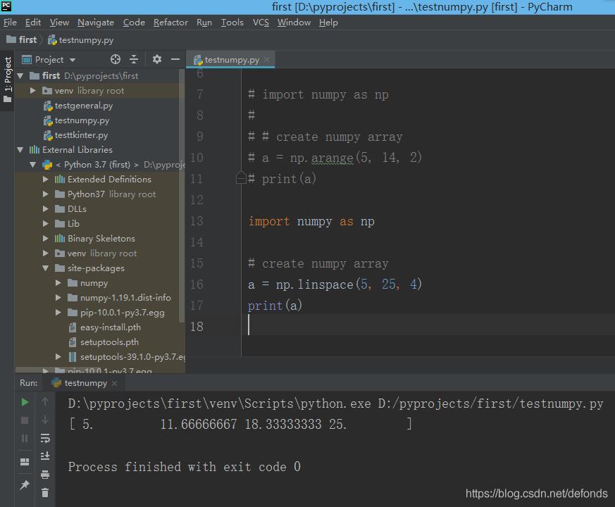 使用 linspace() 函数创建 1D Numpy 数组.png