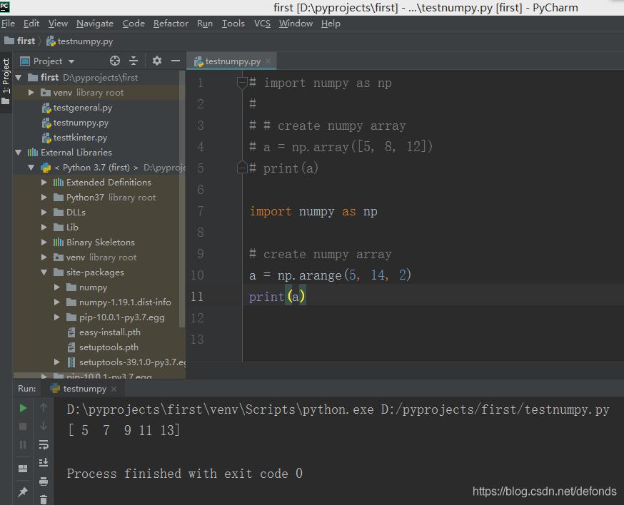 用 arange() 函数来创建一个一维的 numpy 数组.png