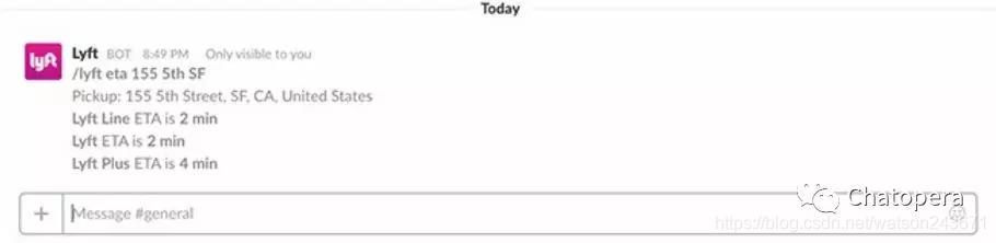 图1-1 Lyft机器人通过Slack聊天渠道向用户提供乘车服务时间估计