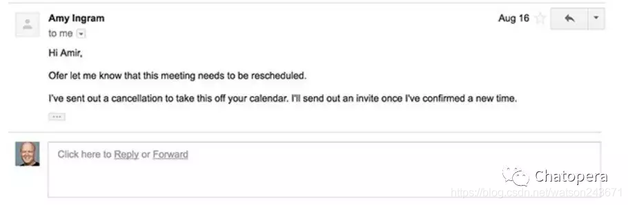 图1-2 Amy 机器人通过电子邮件渠道向用户提供调度服务