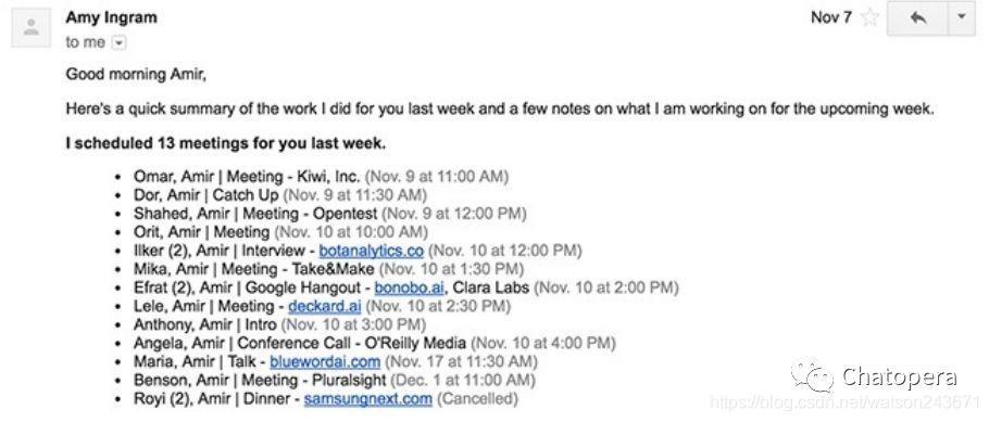 图1-6 艾米通过在一周内与13个不同的人协调会议节省了我的时间
