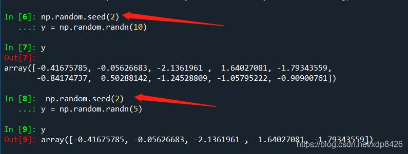 可以看到,当seed里的数字是5是,无论随机生成10个还是5个,都是相同的随机数