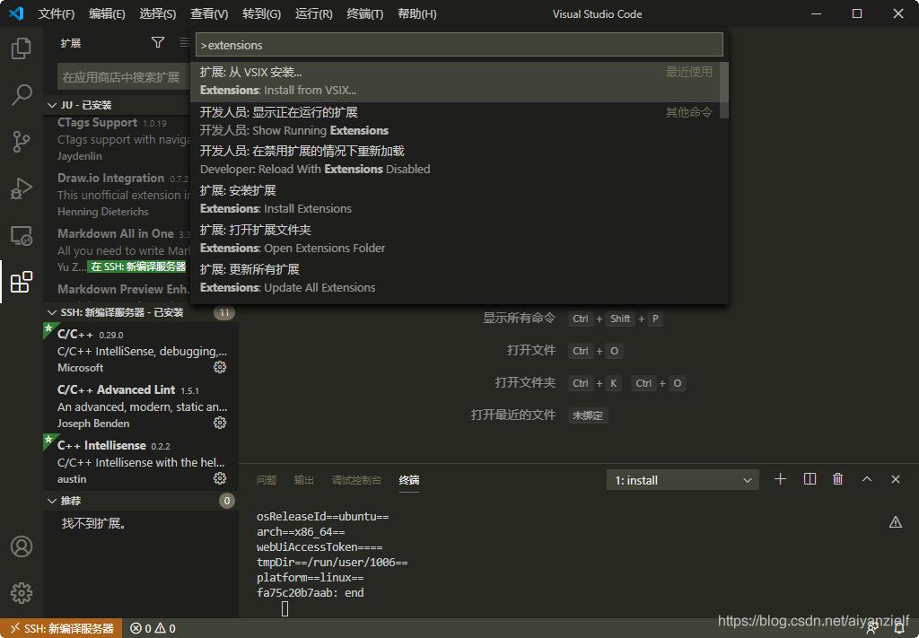 如果点了绿色的没办法自动安装,可以下载VSIX手动安装